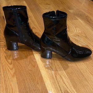 Black patent booties